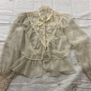 VTG Cream sheer blouse long sleeve cinch waist